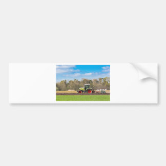Farmer on tractor plowing sandy soil in spring bumper sticker