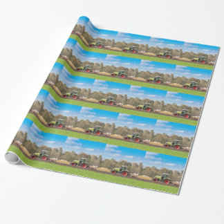 Farmer on tractor plowing sandy soil in spring wrapping paper