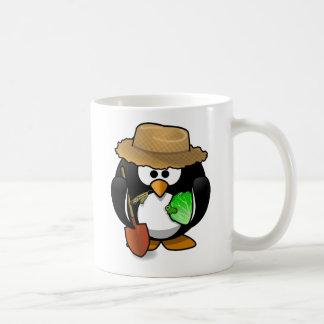Farmer penguin animation cartoon illustration classic white coffee mug