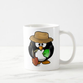 Farmer penguin animation cartoon illustration coffee mug