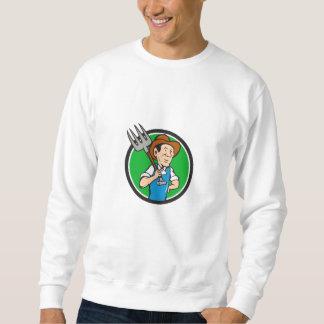 Farmer Pitchfork On Shoulder Circle Cartoon Sweatshirt