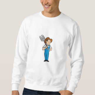 Farmer Pitchfork Shoulder Standing Cartoon Sweatshirt