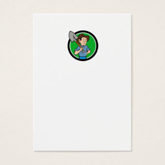 Farmer Shovel Shoulder Circle Cartoon Business Card