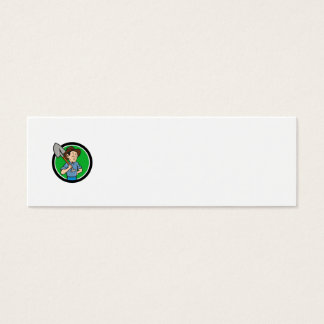 Farmer Shovel Shoulder Circle Cartoon Mini Business Card