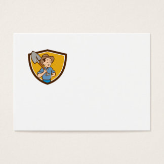 Farmer Shovel Shoulder Crest Cartoon Business Card