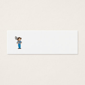 Farmer Shovel Shoulder Standing Cartoon Mini Business Card
