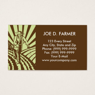 farmer  sowing seeds plowed field business card