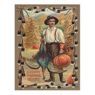 Farmer Turkey Pumpkin Corn Shock Feathers Postcard