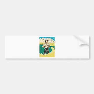 farmer with scythe standing field retro bumper sticker