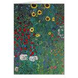 Farmergarden w Sunflower by Klimt, Vintage Flowers Card