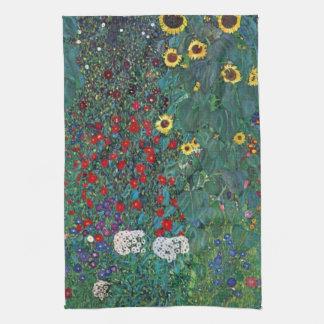 Farmergarden w Sunflower by Klimt, Vintage Flowers Kitchen Towel