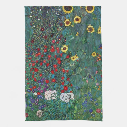 Farmergarden w Sunflower by Klimt, Vintage Flowers Kitchen Towel