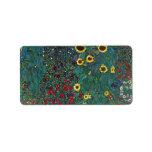 Farmergarden w Sunflower by Klimt, Vintage Flowers Custom Address Label