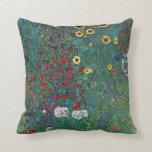 Farmergarden w Sunflower by Klimt, Vintage Flowers Pillow