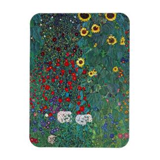 Farmergarden w Sunflower by Klimt, Vintage Flowers Rectangular Photo Magnet