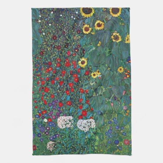Farmergarden w Sunflower by Klimt, Vintage Flowers Towel