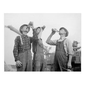 Farmers Drinking Beer, 1941 Postcard