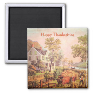 Farmer's Harvest Scene | Thanksgiving Magnet