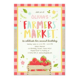 Farmers Market Birthday Invitation Strawberry Farm