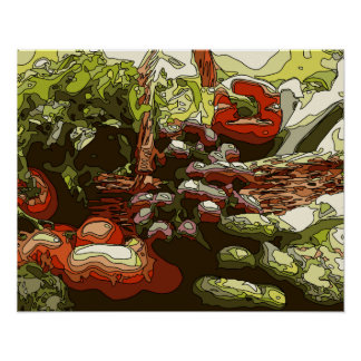 Farmers Market Fresh Fruits and Vegetables Poster