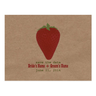 Farmers Market Inspired Save The Date   Strawberry Postcard
