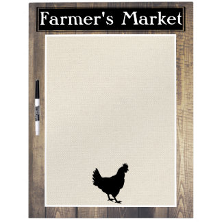 Farmer's Market Rustic Country Farmhouse Black Hen Dry-Erase Boards