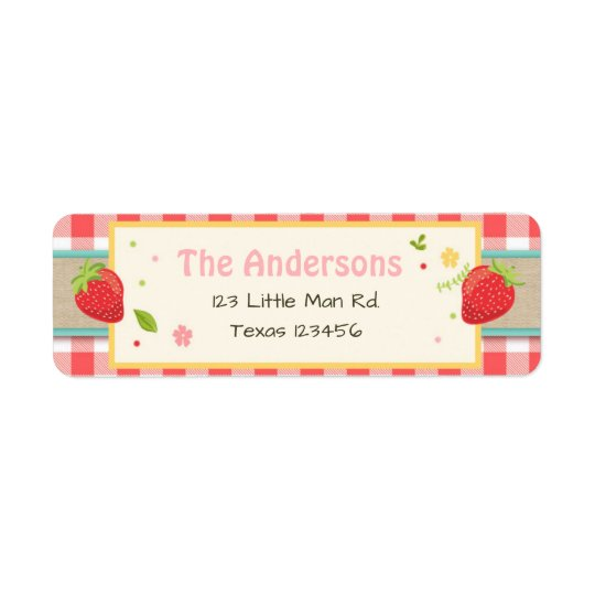 Farmers Market Strawberry Return Address Labels