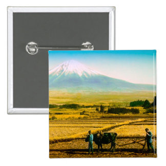 Farmers Oxen Plowing Field in Shadow of Mt. Fuji 2 Inch Square Button