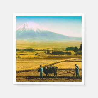 Farmers Oxen Plowing Field in Shadow of Mt. Fuji Disposable Napkin