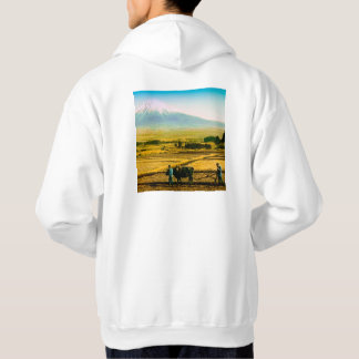 Farmers Oxen Plowing Field in Shadow of Mt. Fuji Hoodie