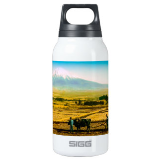 Farmers Oxen Plowing Field in Shadow of Mt. Fuji Insulated Water Bottle