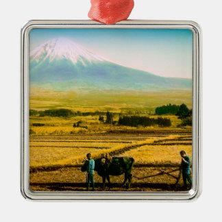 Farmers Oxen Plowing Field in Shadow of Mt. Fuji Silver-Colored Square Ornament
