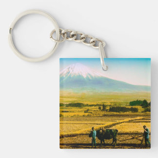Farmers Oxen Plowing Field in Shadow of Mt. Fuji Single-Sided Square Acrylic Keychain