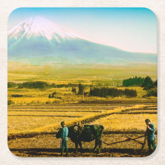 Farmers Oxen Plowing Field in Shadow of Mt. Fuji Square Paper Coaster