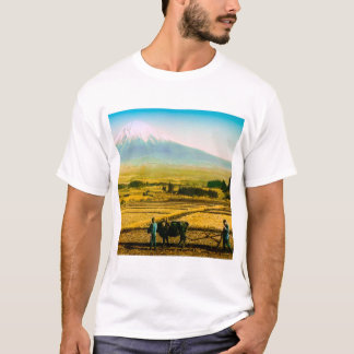 Farmers Oxen Plowing Field in Shadow of Mt. Fuji T-Shirt