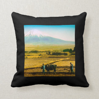 Farmers Oxen Plowing Field in Shadow of Mt. Fuji Throw Pillow