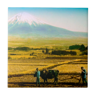 Farmers Oxen Plowing Field in Shadow of Mt. Fuji Tile