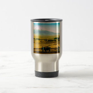 Farmers Oxen Plowing Field in Shadow of Mt. Fuji Travel Mug