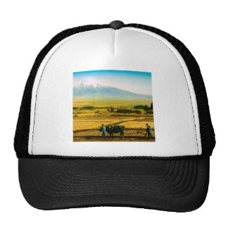 Farmers Oxen Plowing Field in Shadow of Mt. Fuji Trucker Hat