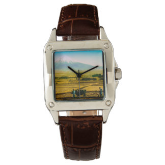Farmers Oxen Plowing Field in Shadow of Mt. Fuji Wristwatch