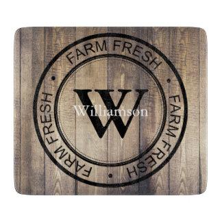 Farmhouse Barn Wood Farm Fresh Family Name Cutting Board