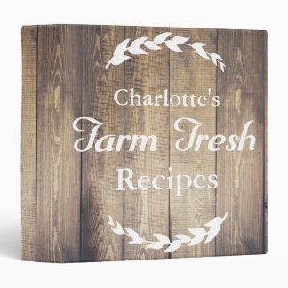 Farmhouse Barn Wood Farm Fresh Recipes Custom Name Vinyl Binder
