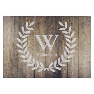 Farmhouse Barn Wood White Laurels Family Name Cutting Board