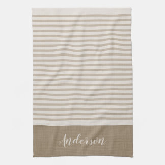 Farmhouse Beige Linen Stripes Monogram Kitchen Towel