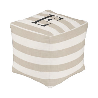 Farmhouse Beige Linen Stripes Monogram Pouf