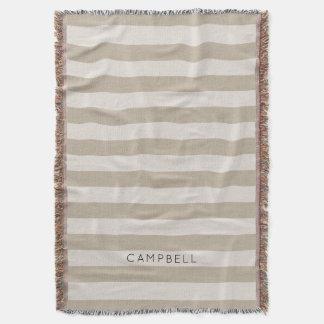Farmhouse Beige Linen Stripes Monogram Throw Blanket