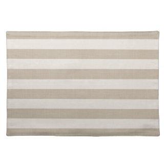 Farmhouse Beige Linen Stripes Placemat
