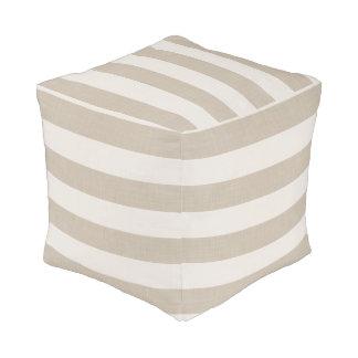 Farmhouse Beige Linen Stripes Pouf