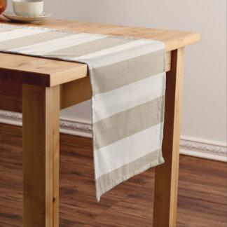 Farmhouse Beige Linen Stripes Short Table Runner