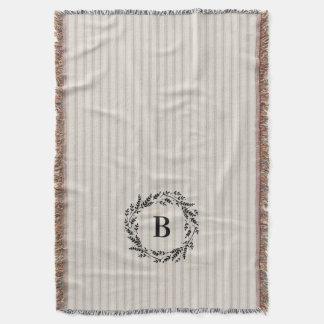 Farmhouse Beige Linen Ticking Stripes Monogram Throw Blanket